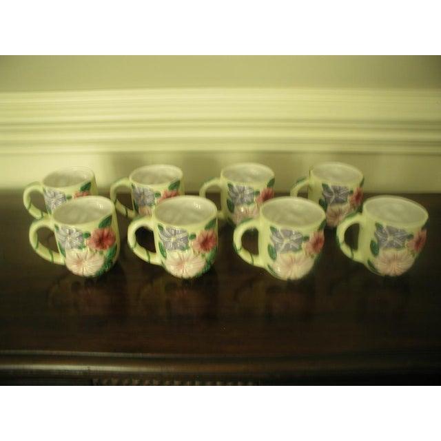 Vintage Colorful Glazed Earthenware Mugs - Set of 8 For Sale - Image 6 of 7
