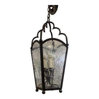 Murrays Ironworks Black Metal Lantern + Wavy Glass For Sale