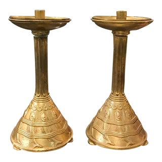 Pair, Mid Century Brass Candleholders - Fish