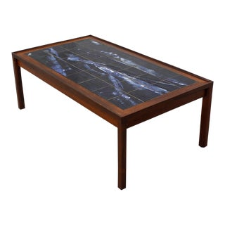 Large Danish Modern Coffee Table in Rosewood with White & Blue Tile Top For Sale