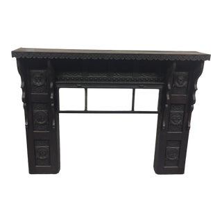 Antique Black Wood Fireplace Mantel For Sale