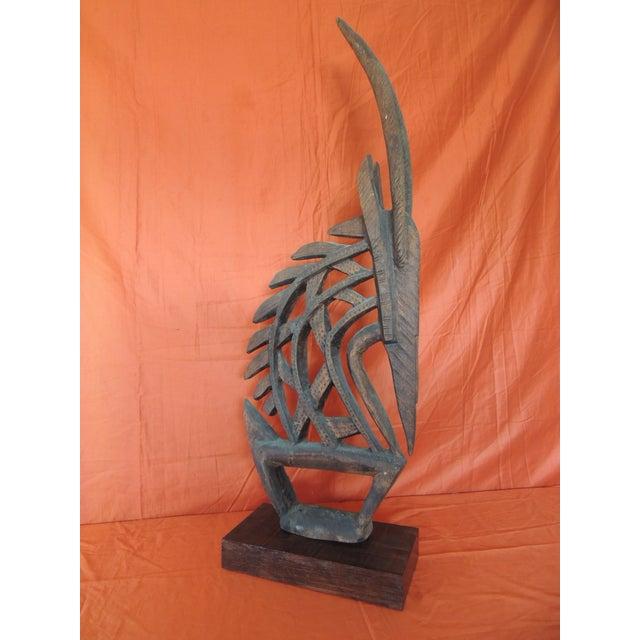 Large Antelope Chi Wara Head-Crest African Wood Carved Sculpture Primitive Art For Sale - Image 9 of 9
