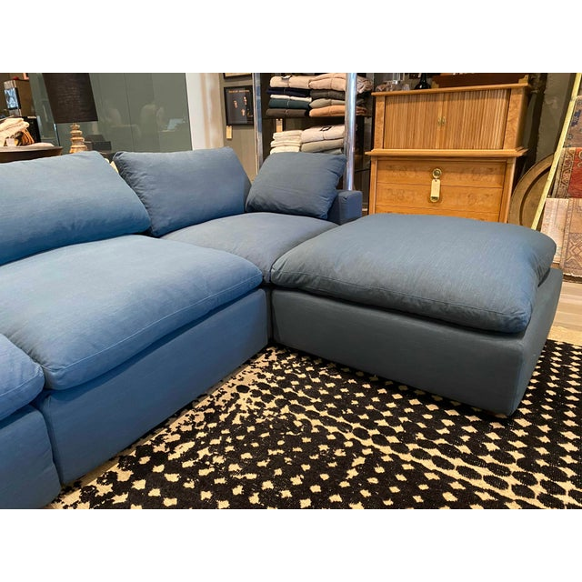 Overstuffed Blue Linen 4 Piece Sectional Sofa For Sale - Image 4 of 13