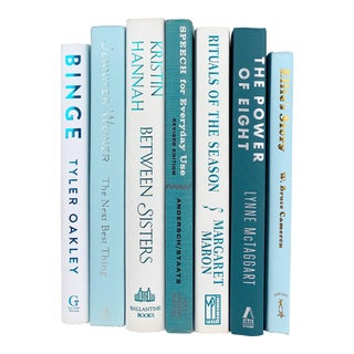 White and Teal Decorative Books - Set of 7 For Sale