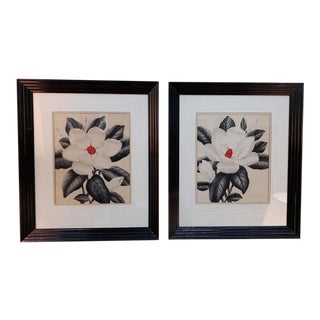 "Pair of Mid Century Airbrush Paintings ""Magnolia Blossoms"" by Shirrell Graves C.1950 For Sale"