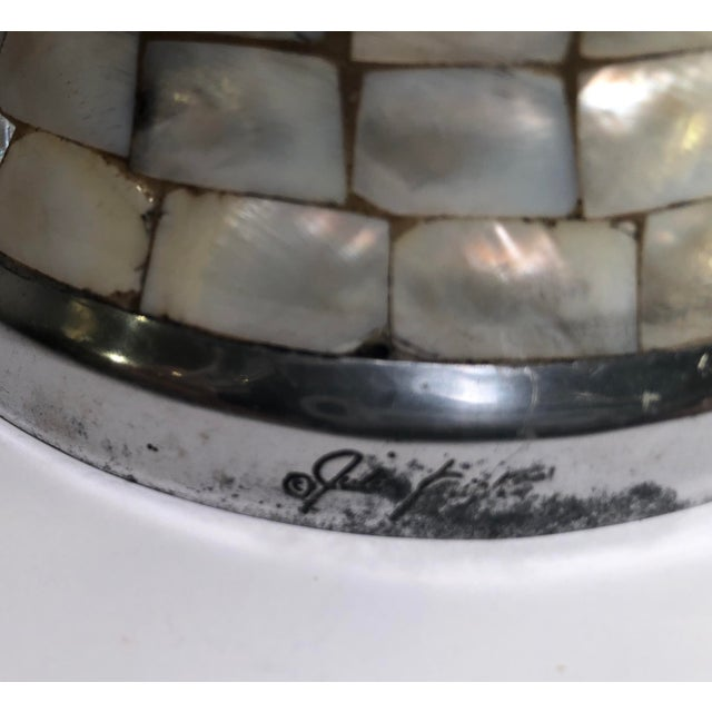 Contemporary Collectible Julie Knight Signed Polished Aluminum With Mother of Pearl Vase Silver and Green For Sale - Image 9 of 11