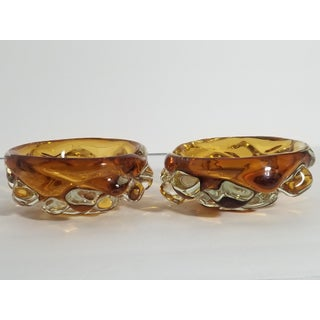 Vintage Amber Bubble Cigar Ashtrays - a Pair Preview