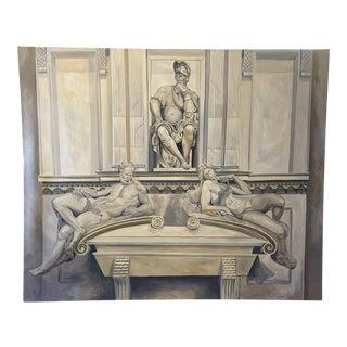 Vintage Large Greek Figural Painting For Sale