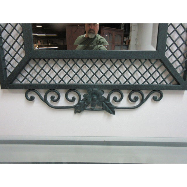 1980s Ethan Allen Wrought Iron Glass Top Mirror & Console Table For Sale - Image 5 of 10