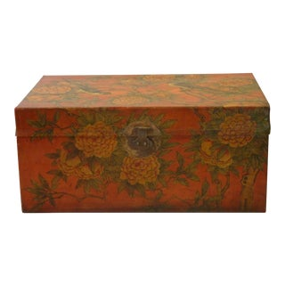 20th Century Chinese Painted Leather Box For Sale
