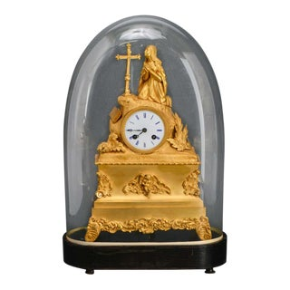 French Dore Bronze Mantel Clock With Woman in Prayer For Sale