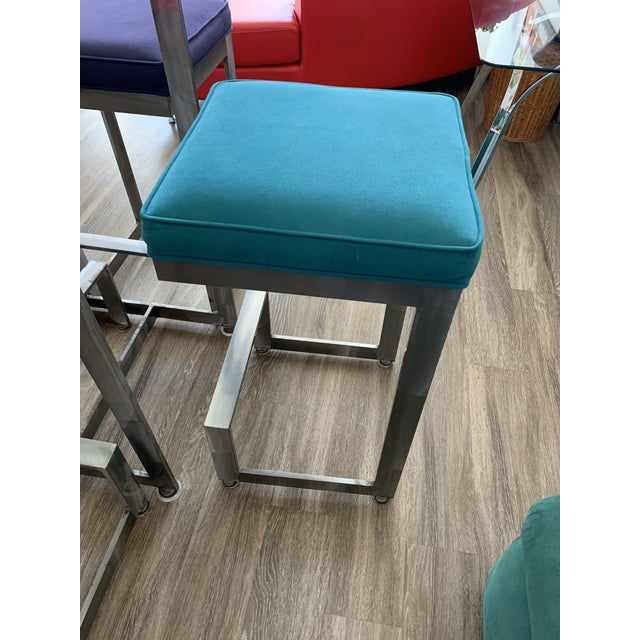 Turquoise 1970s Chrome and Glass High-Top Table & 4 Stools - 5 Pieces For Sale - Image 8 of 12