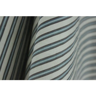 Antique French Ticking Blue Striped Fabric Material Old Bedding Textile 44x66in For Sale