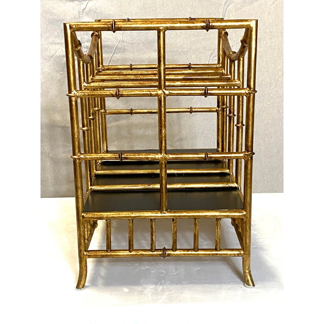 Asian Beautiful Vintage Gilt Gold Canterbury Magazine Rack Stand Asian Style Fabulous For Sale - Image 3 of 8