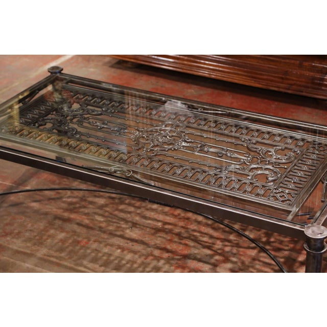 French Iron Coffee Table Made With 19th Century French Gate Balcony With Glass Top For Sale - Image 3 of 13