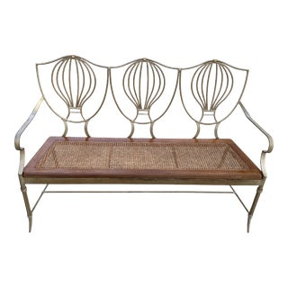 Mid Century French Iron Bench With Wood Caning Seat For Sale