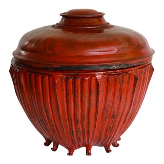 Red Lacquered Bamboo Rice Bowl With Lid For Sale