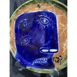 "Abstract Cubism Art Hand Painted Cobalt Blue ""Third Eye"" Face Ceramic Decorative Pottery Plate Preview"