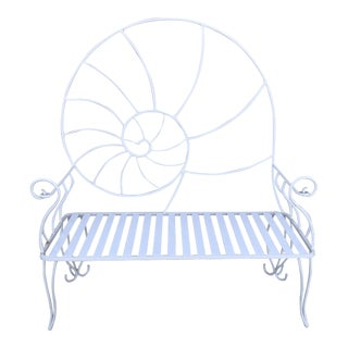 Nautical Shell Wrought Iron Art Nouveau Garden Bench For Sale