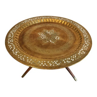 Vintage Mid-Century Moroccan Style Reticulated Brass Tray Spider Leg Table For Sale