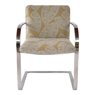 Mid-Century Modern Chrome Desk Chair With Tropical Print by Brueton For Sale