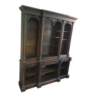 Vintage Theodore Alexander Open Front Wood Wall Cabinet Bookcase For Sale