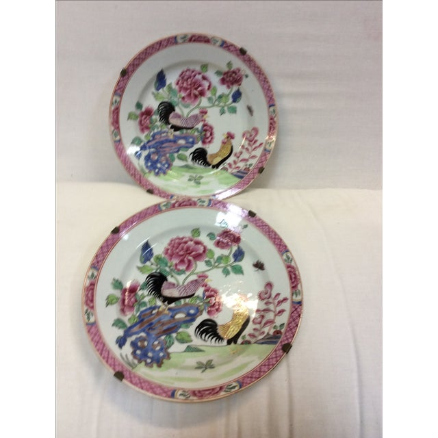 Pair of Chinese Export Style Antique Rooster Plates Possibly French - Image 8 of 8