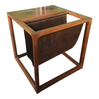 1960s Danish Modern Teak & Leather Magazine Table For Sale