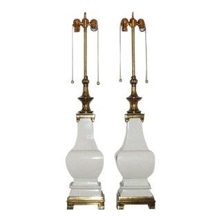 Stiffel Ceramic Craquelure Lamps White For Sale