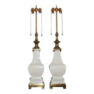 Stiffel Crackle Glazed Lamps For Sale
