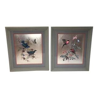 Original Vintage Birds on Flowering Branch Foil Art 1970s - A Pair For Sale