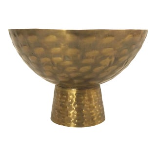 Jamie Young Modern Brass Finished Hammered Metal Chalice Bowl For Sale