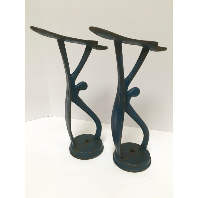 Industrial Antique Blue Cast Iron Shoe Shine Stands - A Pair For Sale - Image 3 of 8