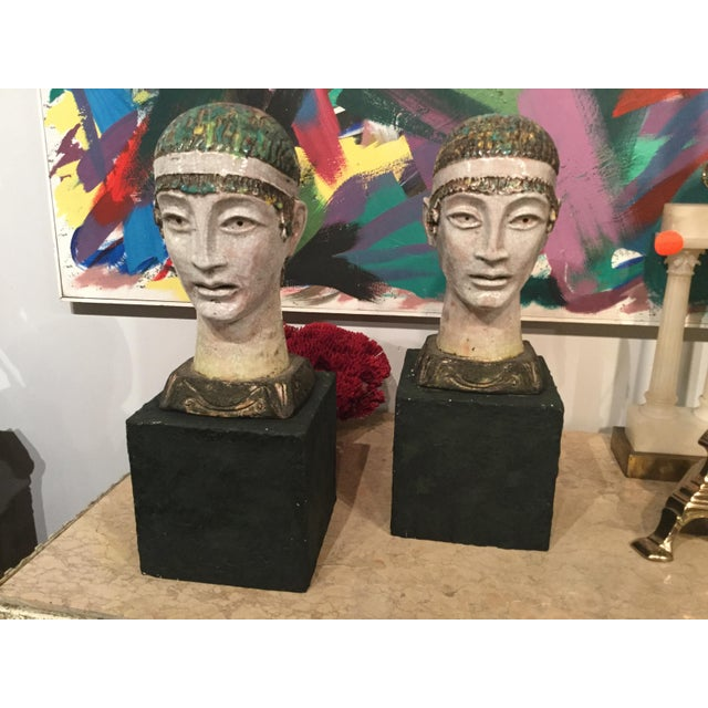 Figurative Pair of Unusual Mid Century Glazed Pottery Busts For Sale - Image 3 of 11