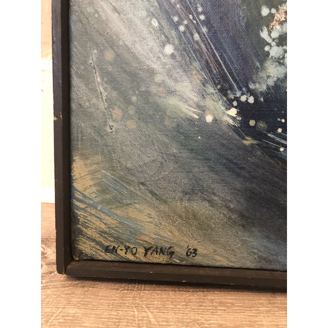 """1960s """"A Blue Painting"""" Abstract En-Yo Yang Painting, Framed For Sale In New York - Image 6 of 11"""