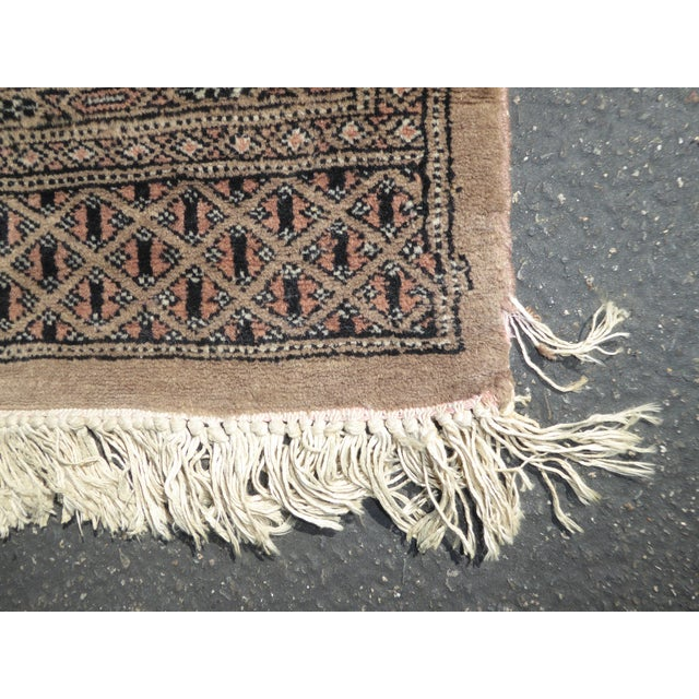 Vintage Mid-Century Handwoven Wool Pakistan Bokhara Area Rug - 4′3″ × 6′7″ For Sale - Image 11 of 12