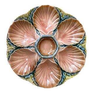 Majolica Oyster Plate Sarreguemines, Circa 1890 For Sale