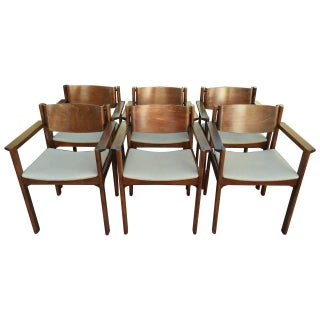 Harvey Probber Bent Mahogany Arm Chairs - Set of 6