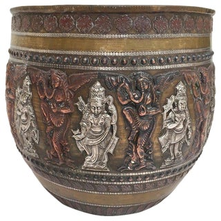 Asian Brass, Copper, Silver Inlaid Ceremonial Bowl With Avatars of Vishnu For Sale