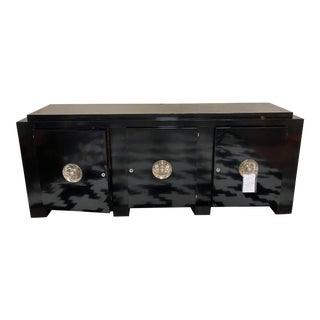 Vintage Black Laquered Original Art Deco Credenza For Sale