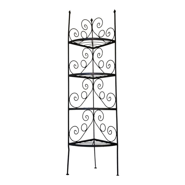 Vintage Wrought Iron Corner Bakers Rack For Sale