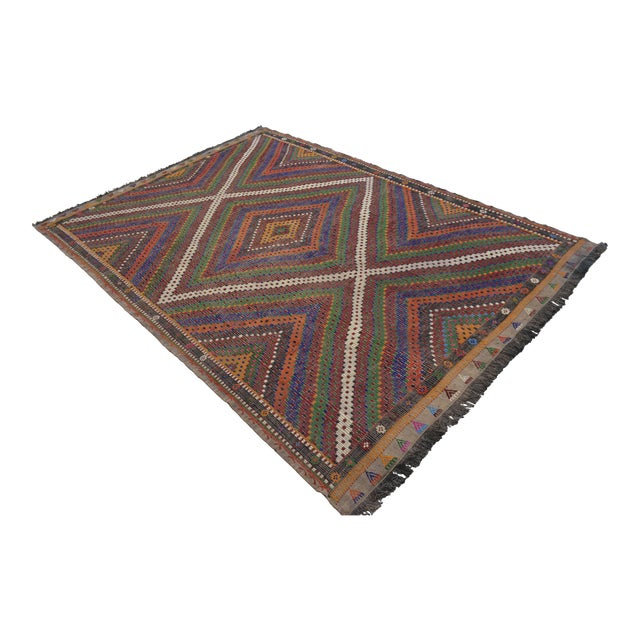 "Hand Woven Turkish Kilim Area Rug - 6'9"" X 9'6"" - Image 1 of 9"