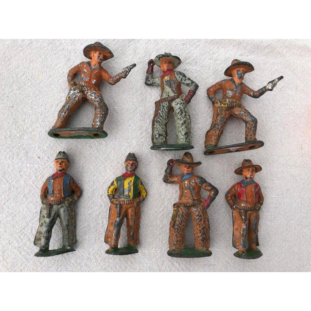 Rustic 1950 Antique Lead Toy Cowboys - Set of 7 For Sale - Image 3 of 9