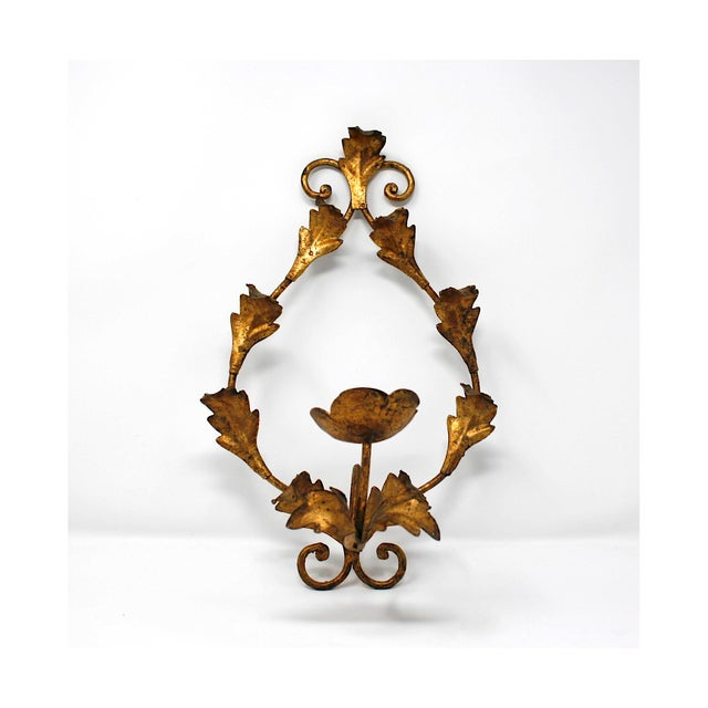 Vintage Italian Gilt Wall Sconce For Sale In Chicago - Image 6 of 6