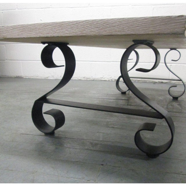 Cerused Oak Coffee Table with Wrought Iron Base For Sale In New York - Image 6 of 9