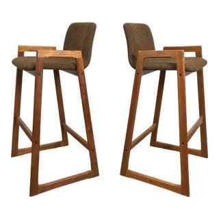 1960s Vintage Danish Modern Teak Barstools- A Pair For Sale