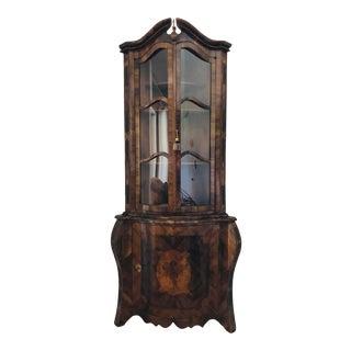 19th Century Italian Baroque Style Walnut Corner Cabinet For Sale