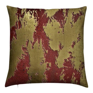 """C.Heckscher Collection Decorative Throw Pillow 16"""" X 16"""" """"Red Earth"""" For Sale"""