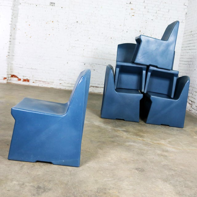 Blue Molded Plastic Side or Slipper Chairs by Norix Set of Eight For Sale - Image 6 of 13