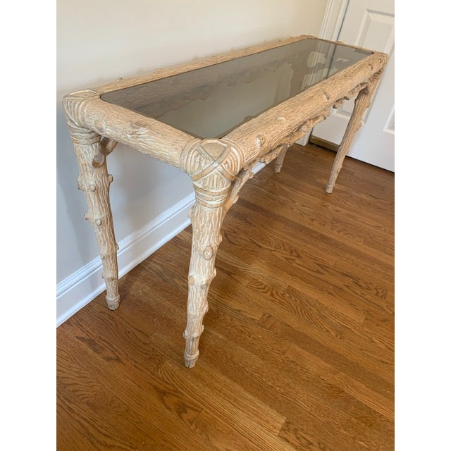 Faux Bois Carved Wood Console With Glass Insert For Sale In New York - Image 6 of 8